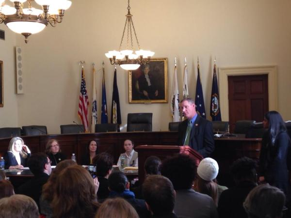 Congressional Maker Caucus Co-Chair Steve Stivers Addresses the Crowd with Panelists Maura Marx, Suzanne Harper, Kylie Peppler, and Girl Scout Maker Emily