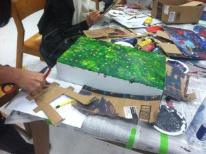 ESOL students creating art in the library