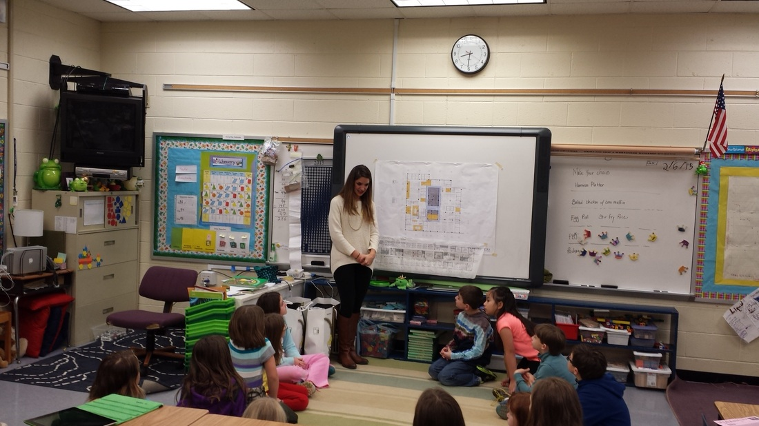 erkins+Wills interior designer works with 3rd graders on design thinking bedrooms