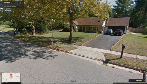 My childhood home in New Jersey from 1966 - 1976. My older brother and I earned $5 to place the Belgian Block lining both sides of the driveway. I think we worked on it for an entire week during one long, hot summer. Amazing that it still remains, almost 50 years later, a testament to our craftsmanship. Image credit: Google.