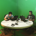 Podcasting in C4K's greenroom (photo courtesy of instagram.com/c4kclubhouse)