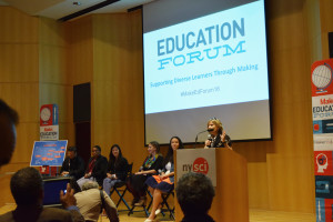 We co-hosted the Education Forum on Friday, September 30th, with Make: and the New York Hall of Science. In this photo, Dorothy Bennett is at the microphone.