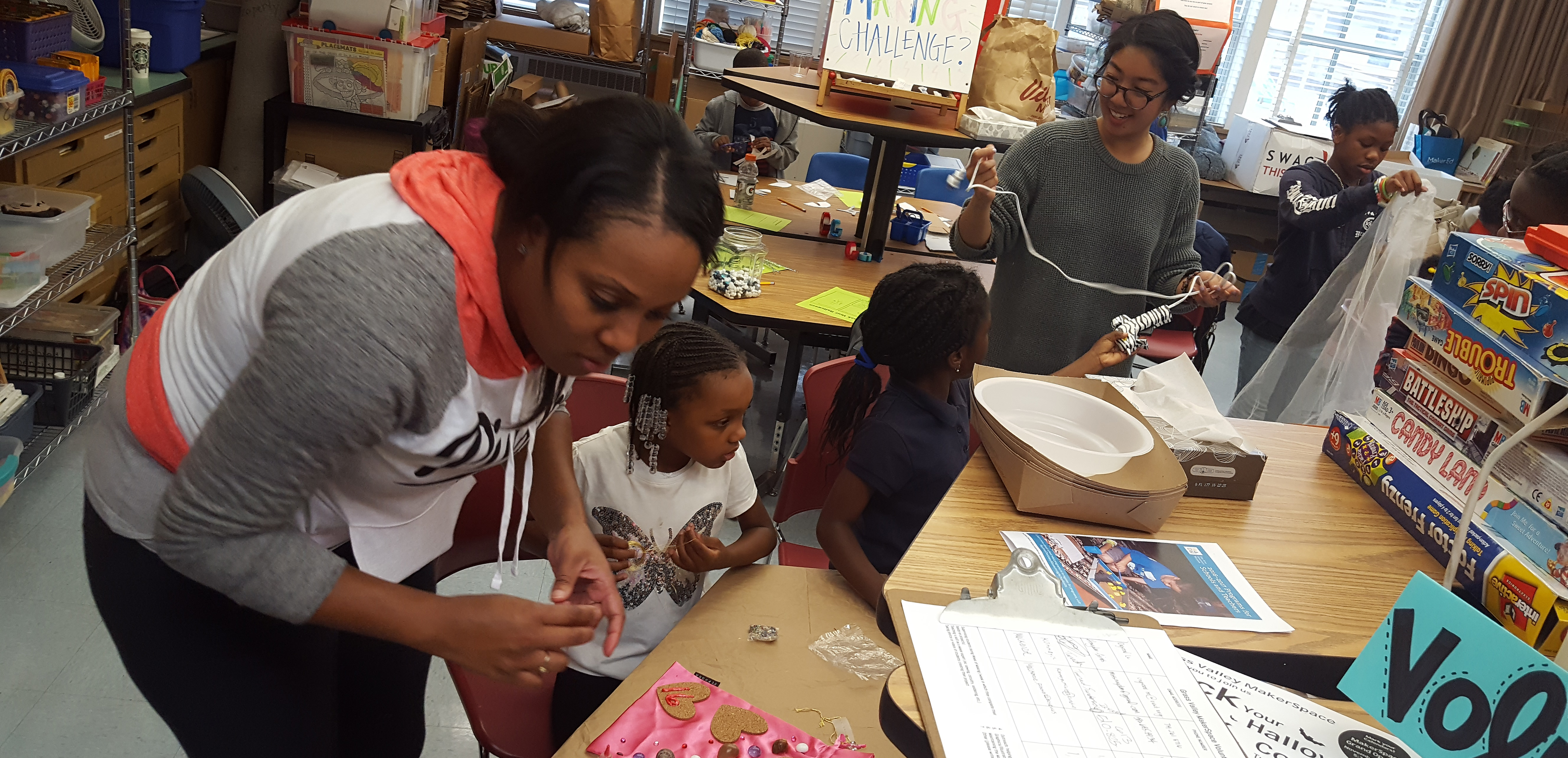 Students making at Grass Valley Elementary School in Oakland, California.