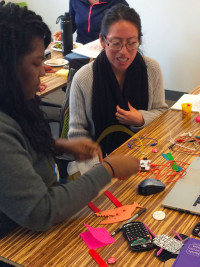 Lyna participating in a recent maker educator professional development workshop