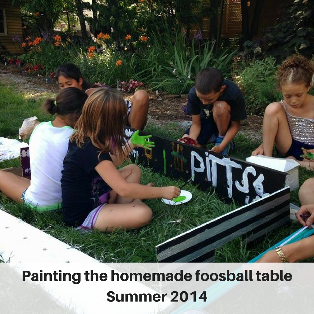 Painting the homemade foosball table Summer 2014