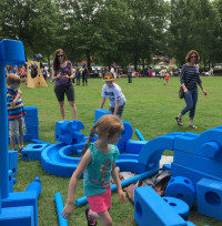 Youth and families play at a recent Art 120 event