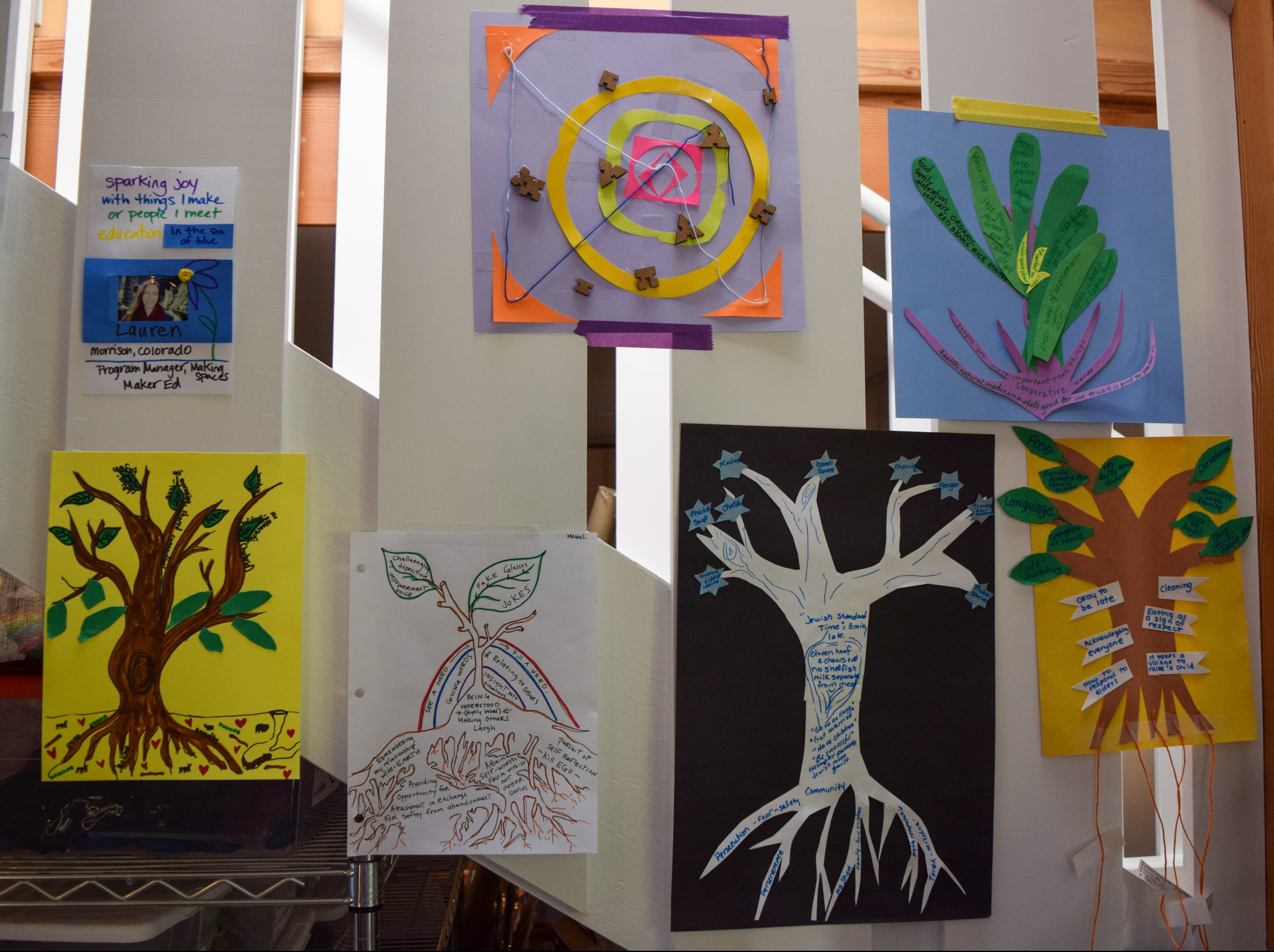 A group shot of several Culture Tree collages hanging on a stairwell.