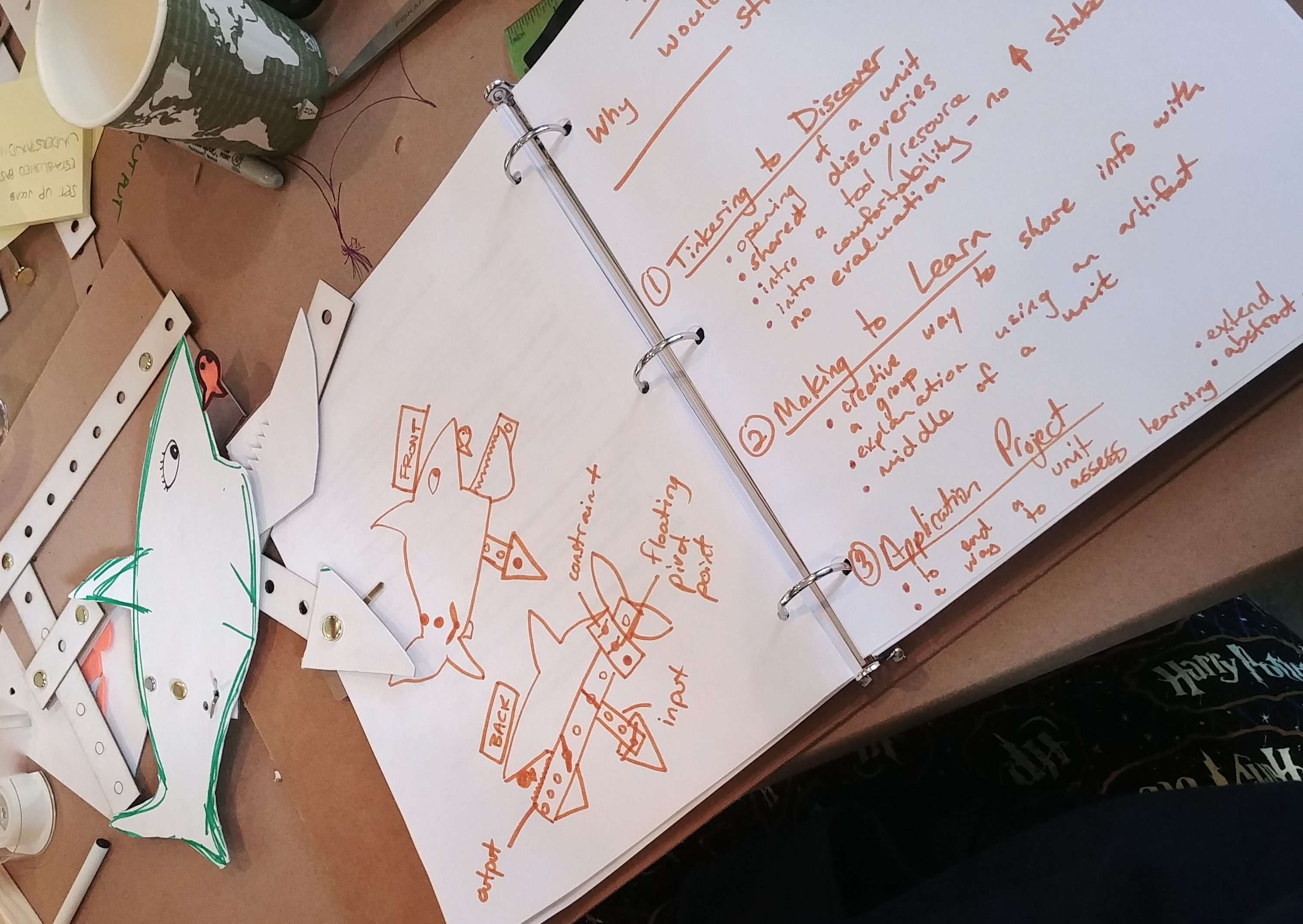 A photograph of a workshop participant's notebook shows their observations about their cardboard linkage activity, including a hand-drawn diagram of a shark.