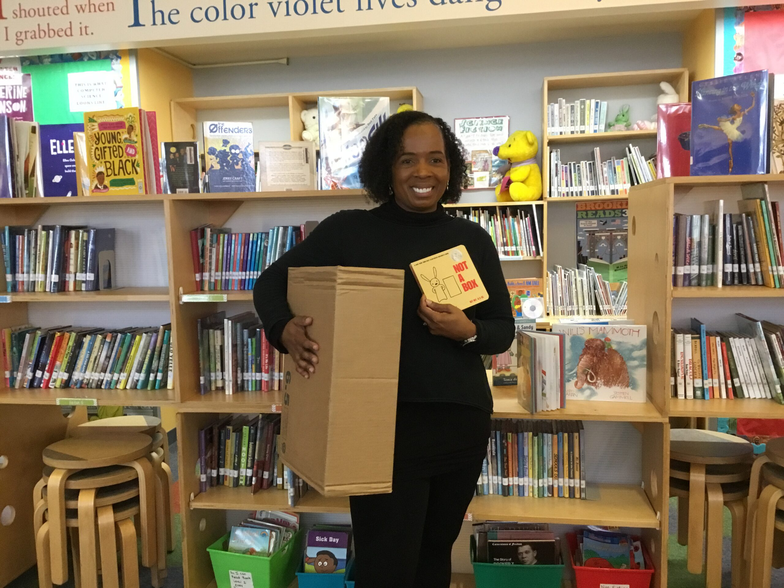 """A photo of Ms. White Dressing Up for Character Day as """"Not A Box!"""""""